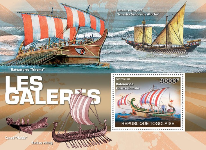 Water Sports I, (Roman warship) - Issue of Togo postage stamps