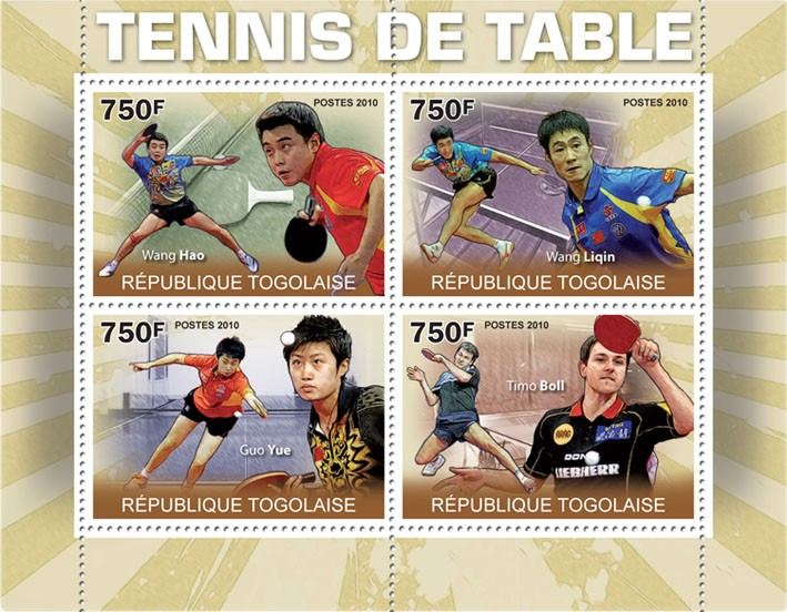 Table Tennis, ( Wang Hao, Wang Lingin, Guo Yue, Timo Boll ). - Issue of Togo postage stamps