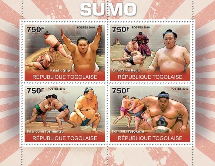 Sumo, (H.Sho, C.Ryuji, K.Toshimitsu, K.Yasokichi). - Issue of Togo postage stamps