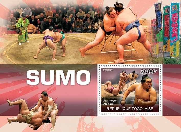 Sumo, (Asashoryu Aikinori). - Issue of Togo postage stamps