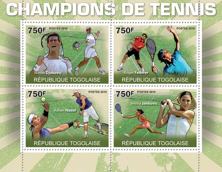 Champions of Lawn Tennis, (N.Djokovic, R.Federrer, R.Nadal, J.Jankovich). - Issue of Togo postage stamps