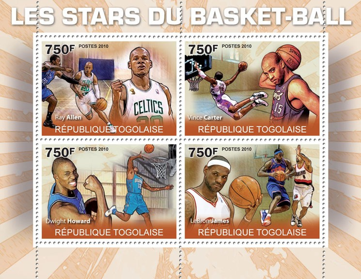 Basketball stars, (R.Allen, V.Carter, D.Howerd, LeBron James). - Issue of Togo postage stamps
