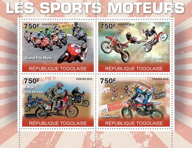 Motorsport, (Grand Prix Moto, Stunt, Rally, Supercross). - Issue of Togo postage stamps