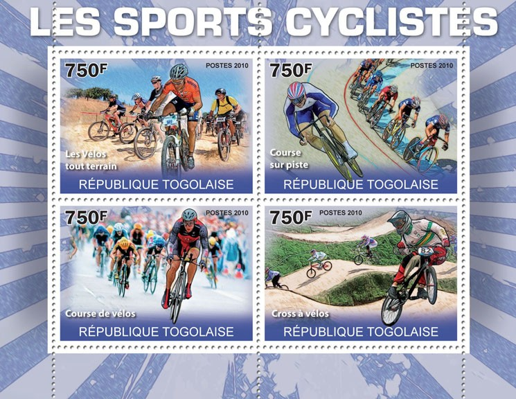 The Cycling Sport, (Mountains Bikes, Racing Track, Racing Bikes, Cross). - Issue of Togo postage stamps
