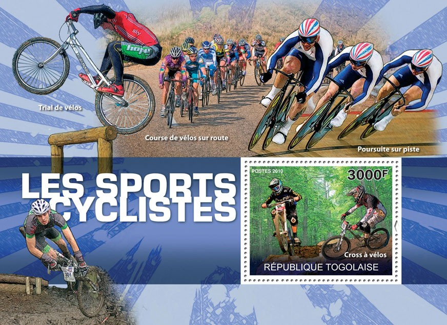 The Cycling Sport, (Cross Bikes). - Issue of Togo postage stamps
