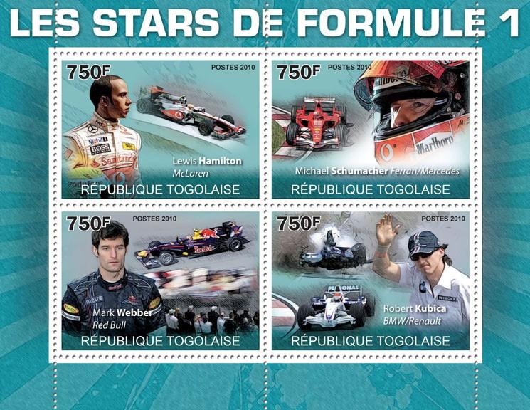 Formula 1 Stars,   (L.Hamilton, M.Shumacher, M.Webber, R.Kubica). - Issue of Togo postage stamps