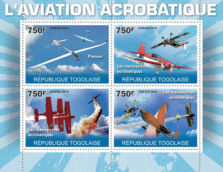 Aviation Acrobatics, (Glider, Acrobatic Maneuvers). - Issue of Togo postage stamps