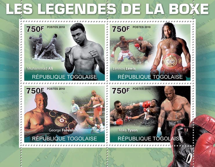 Boxing Legends, (M.Ali, L.Lewis, G.Foreman, M.Tyson). - Issue of Togo postage stamps