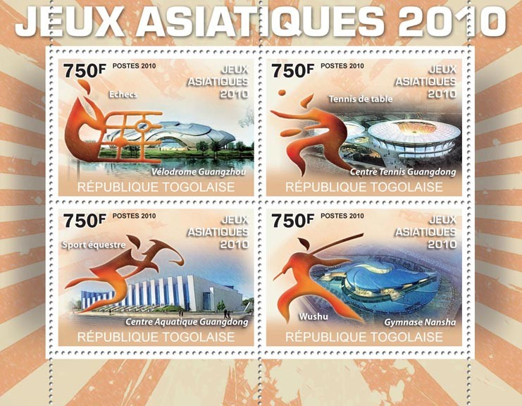 Asian Games 2010, (Stadiums). - Issue of Togo postage stamps