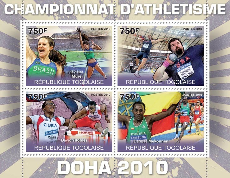 Athletics Championship Doha 2010, (Fabiana Murer, Dayron Robles, Derese Mekonnen). - Issue of Togo postage stamps