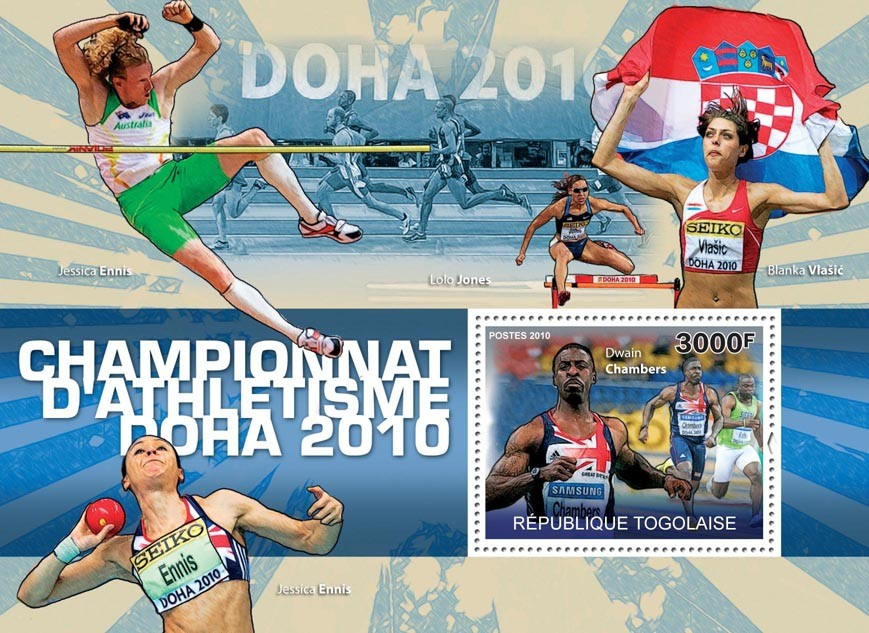 Athletics Championship Doha 2010, (Dwain Chambers). - Issue of Togo postage stamps