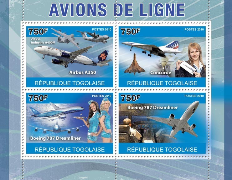 Airliners, (Airbus A350, Concorde, Boeing 787). - Issue of Togo postage stamps