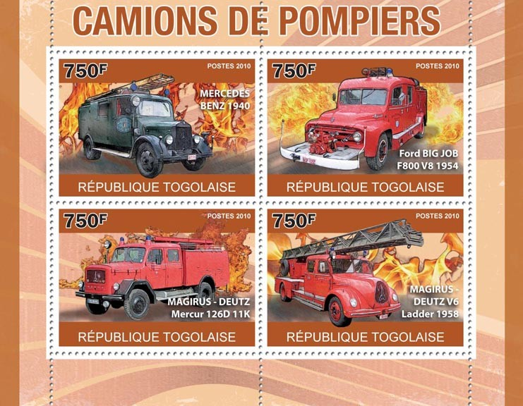 Fire Trucks, (MB 1940, Rord Big Job, Magirus-Deutz). - Issue of Togo postage stamps