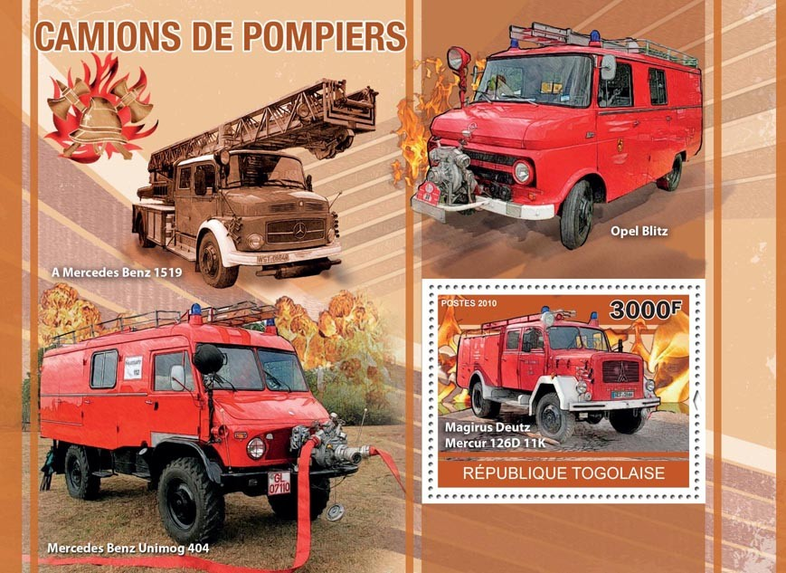 Fire Trucks, (Magirus Deutz, MB 1519, MB UNIMOG 404). - Issue of Togo postage stamps