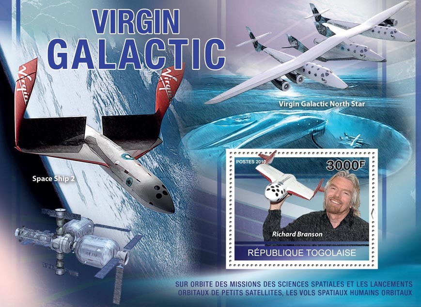 Virgin Galactic (R.Branson, North Star, Space Ship 2). - Issue of Togo postage stamps