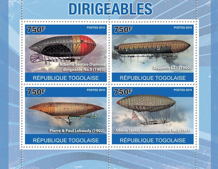 Dirigeables, (A.S.Dumont, Zeppelin, Pierre & Paul Lebaudy). - Issue of Togo postage stamps