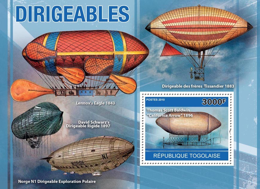 Dirigeables, (Thomas Scott Baldwin,  California Arrow 1896 ) - Issue of Togo postage stamps