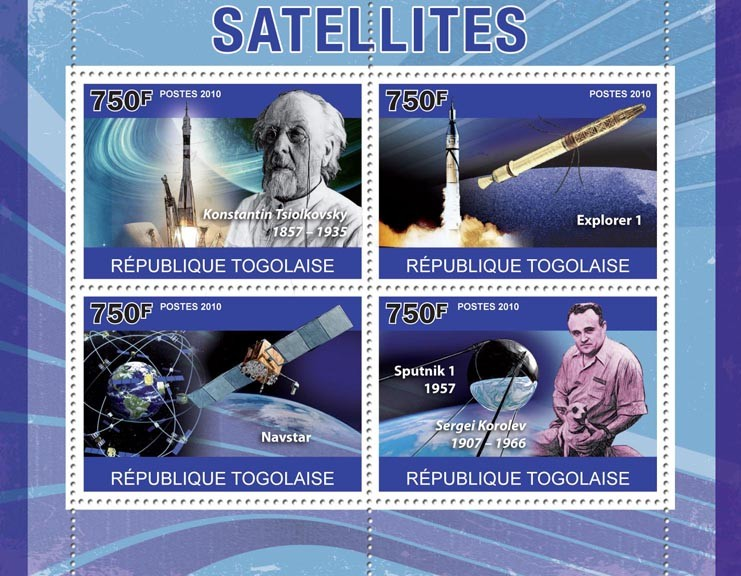 Satellites, (K.Tsiolkovsky, Explorer 1, Navstar, Sputnik 1). - Issue of Togo postage stamps