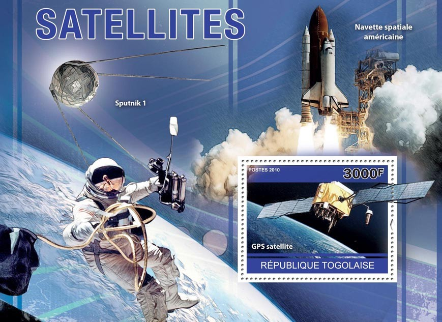Satellites, (GPS Satellite, Sputnik 1). - Issue of Togo postage stamps