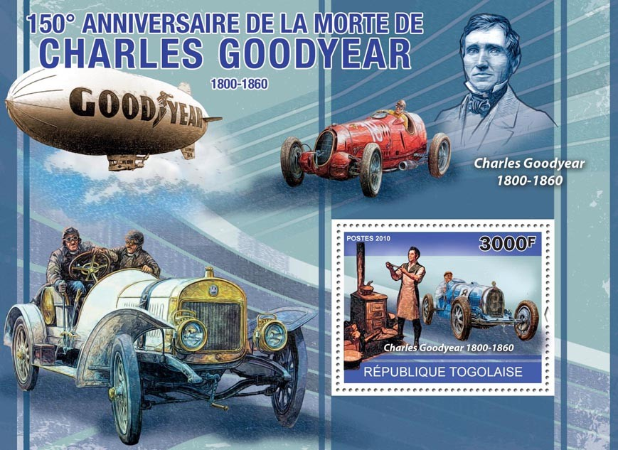 150th Anniversary of the Death of Charles Goodyear (1800-1860) - Issue of Togo postage stamps