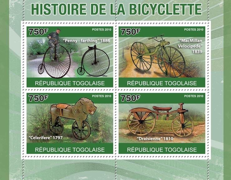 History of Bicycles,  (Penny-farthing, MacMillan, Celerifere, Draisienne) - Issue of Togo postage stamps