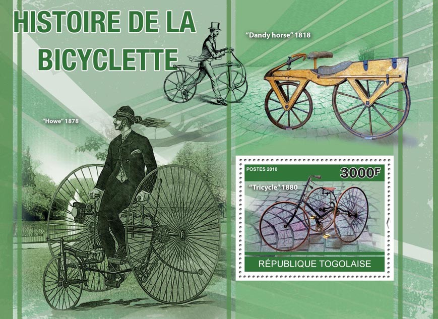 History of Bicycles, (Trycycle 1880, Howe 1878, Dandy Horse 1818). - Issue of Togo postage stamps
