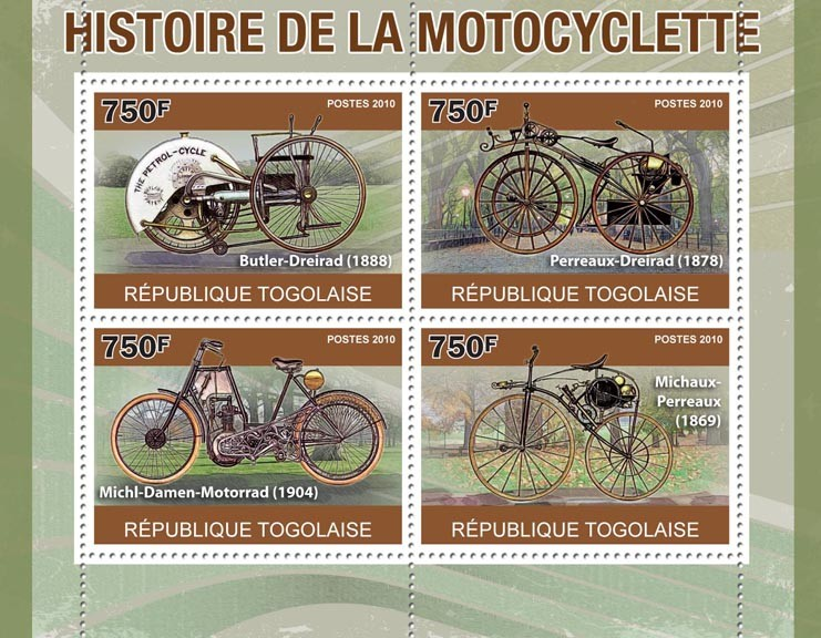 Motorcycling History,  (Butler-Dreirad, Perreaux-Dreirad, Michl-Damen-Motorrad) - Issue of Togo postage stamps