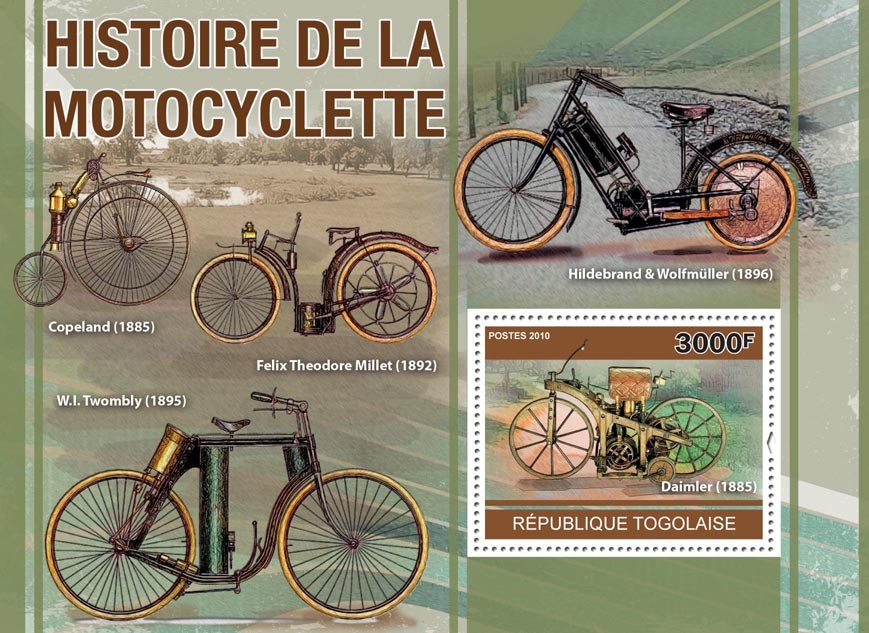 Motorcycling History, (Daimler 1885, Copeland, W.I. Twombly). - Issue of Togo postage stamps
