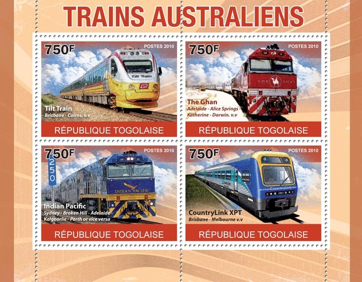 Australian Trains,  (Tilt Train, The Ghan, Indian Pasific, Country Link) - Issue of Togo postage stamps