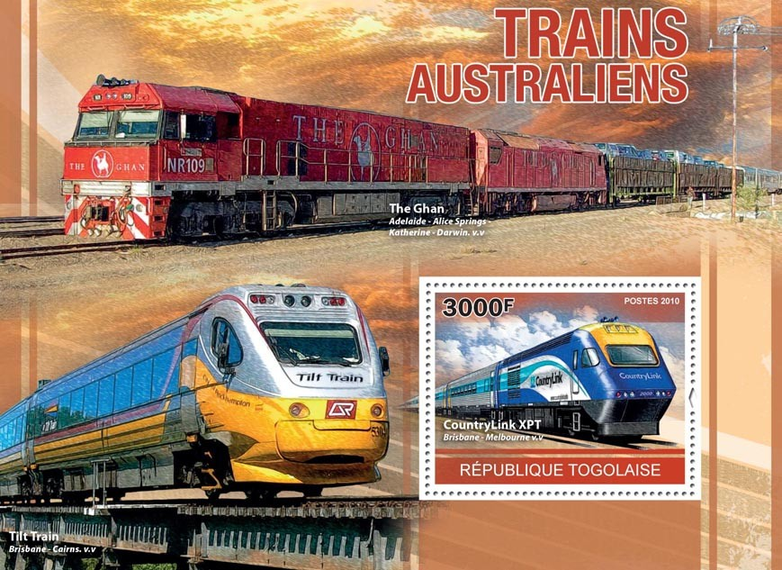 Australian Trains, (Country Link XPT, The Glan). - Issue of Togo postage stamps