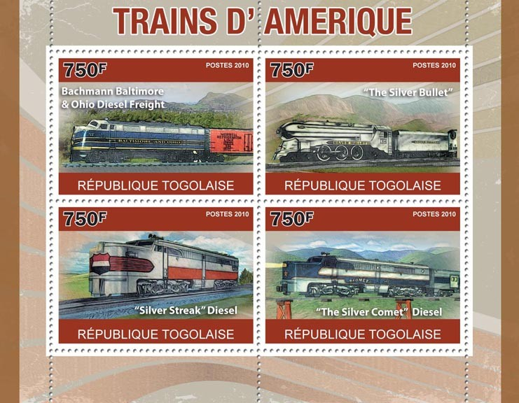 American Trains,  (Bachmann Baltimore, The Silver Bullet, The Silver Track, The Silver Comet) - Issue of Togo postage stamps