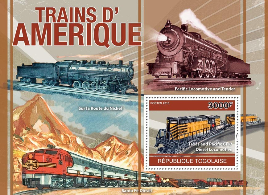 American Trains, (Texas and Pasific GP-7). - Issue of Togo postage stamps