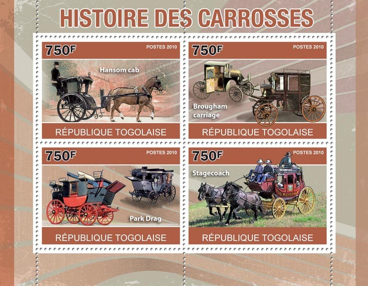 History of Carriages, (Hansom cab ... Stagecoach). - Issue of Togo postage stamps