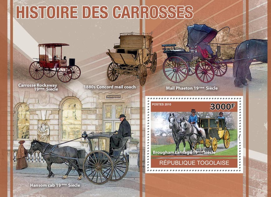 History of Carriages, (Broughham Carriage). - Issue of Togo postage stamps