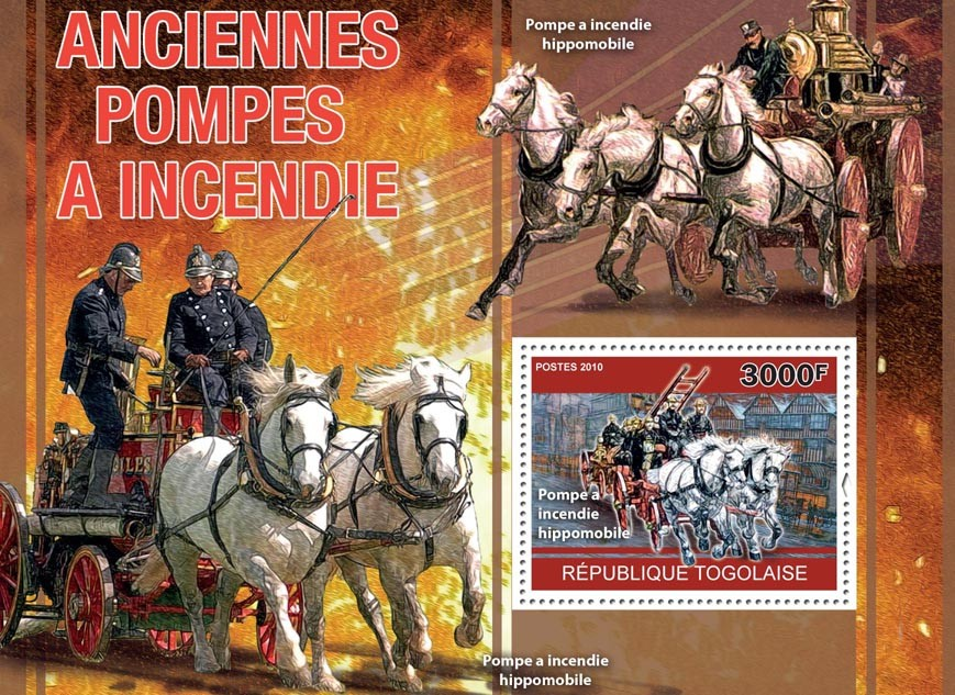 Old Fire Pumps, (Horse Drawn Fire Pump). - Issue of Togo postage stamps
