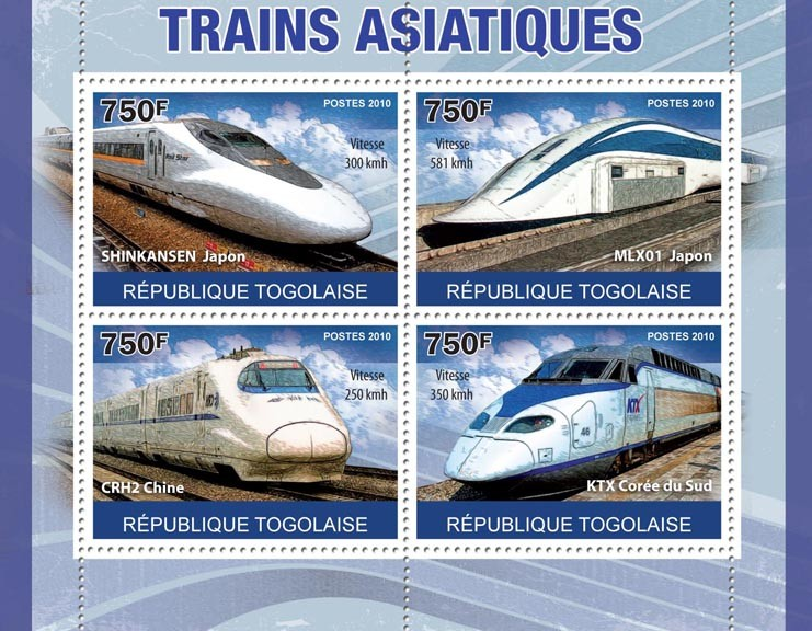 Asian Trains, (Shinkansen Japan, ... KTX) - Issue of Togo postage stamps