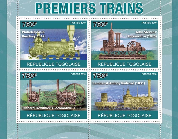 First Trains, ( Philagelphia & Reading 1847 ... Camden & Amboy 1831) - Issue of Togo postage stamps