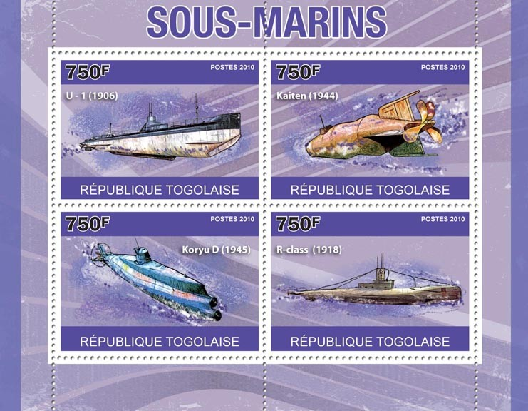 Submarines, (U-1, Kaiten, Koryu D, R-class). - Issue of Togo postage stamps