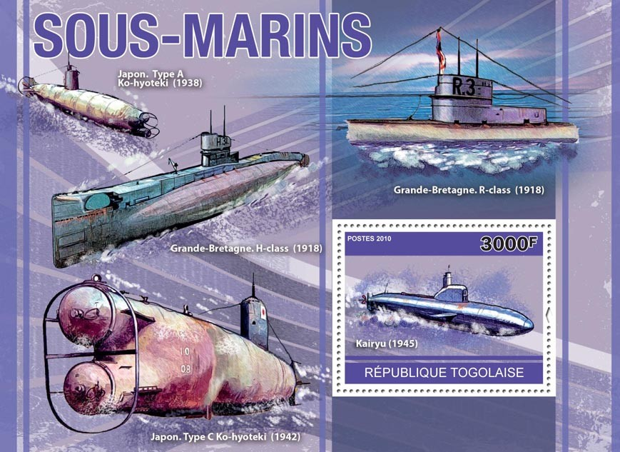 Submarines, (Kairyu 1945). - Issue of Togo postage stamps