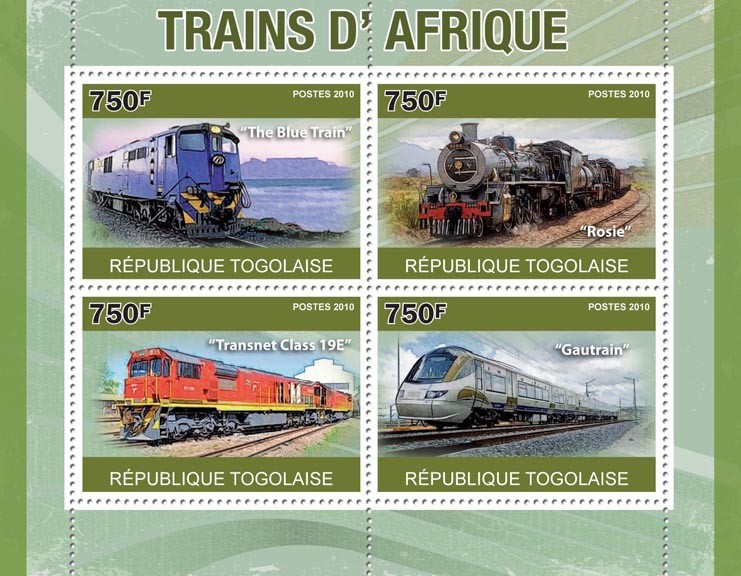 "African trains, (The Blue Train, ... ""Gautrain"") - Issue of Togo postage stamps"