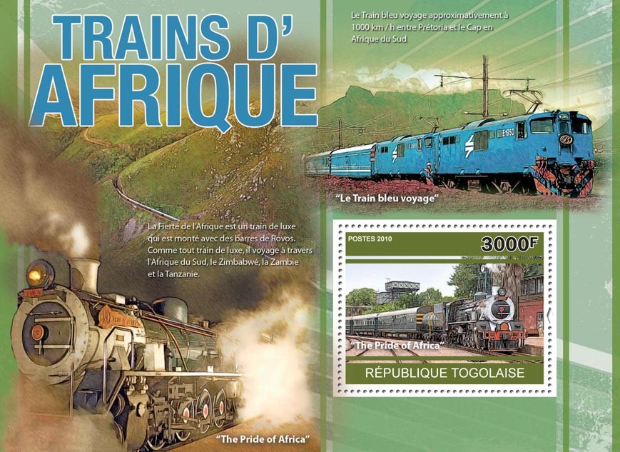 African trains, (The Pride of Afrika). - Issue of Togo postage stamps