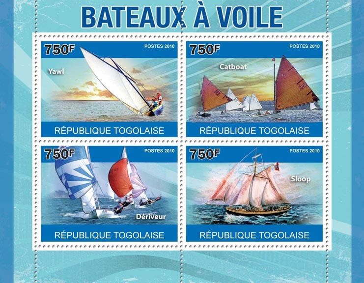 Sailing Ships, (Yawl, Catboat, Deriveur, Sloop). - Issue of Togo postage stamps