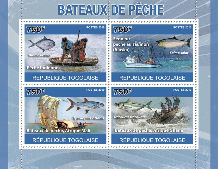 Fishing Boats, (Boats of Africa, India, Alaska). - Issue of Togo postage stamps