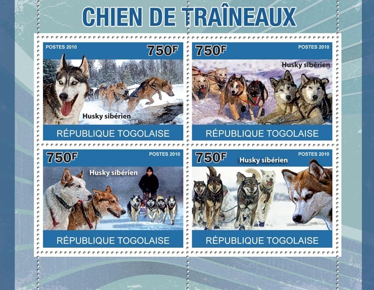 Sled Dogs, (Siberian Husky). - Issue of Togo postage stamps