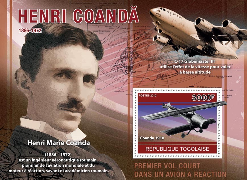 Henri Coanda (1886-1972), (Aircrafts). - Issue of Togo postage stamps