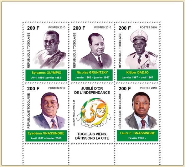 The Golden Jubilee of Independence - Issue of Togo postage stamps