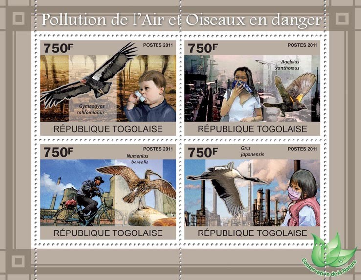 Air Pollution & Endangered Birds. - Issue of Togo postage stamps