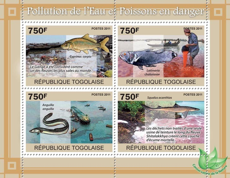 Water Pollution & Endangered Fishes. - Issue of Togo postage stamps
