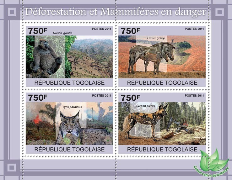 Deforestation & Endangered Mammals. - Issue of Togo postage stamps