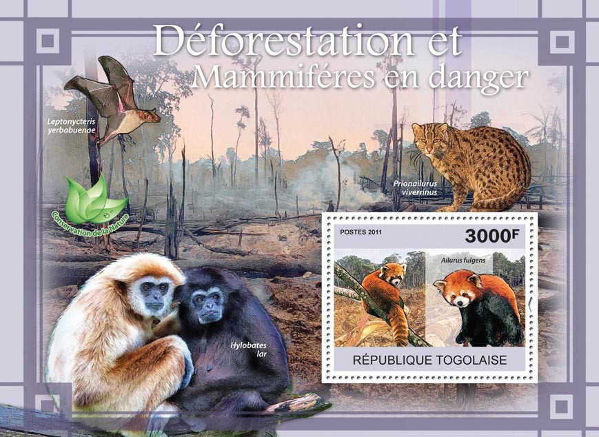 Deforestation & Endangered Mammals. - Issue of Togo postage stamps